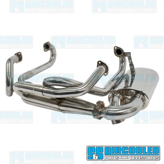 EMPI Sideflow Exhaust System, 1-5/8in. Header w/Muffler, Stainless Steel