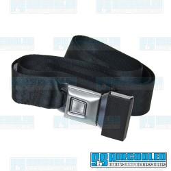 Seat Belt, 2 Point Lap Belt w/Silver Push Button Latch, Black