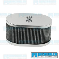 Air Filter Assembly, DCOE, Oval, Gauze Element, Chrome