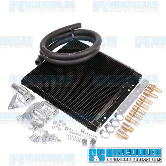 EMPI Oil Cooler Kit, 24-Plate, Includes Filter Adapter & Oil Hose