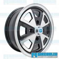Wheel, 914 Alloy, 15x5.5, 4x130 Pattern, Black w/Polished Spokes & Lip