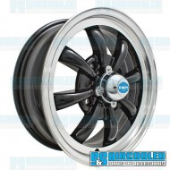 Wheel, GT-8, 8 Spoke, 15x5.5, 4x130 Pattern, Gloss Black w/Polished Lip