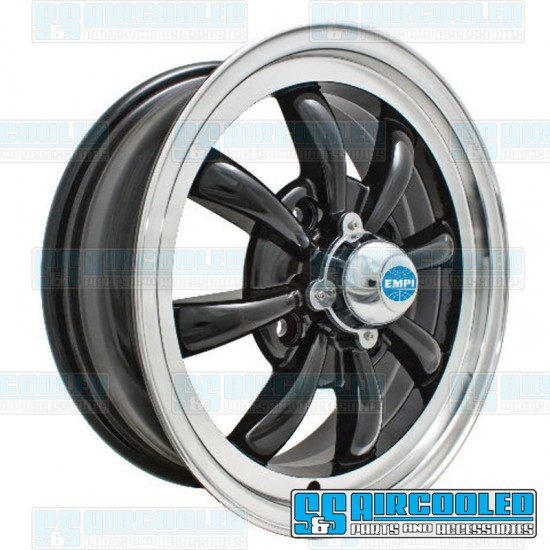 EMPI Wheel, GT-8, 8 Spoke, 15x5.5, 4x130 Pattern, Gloss Black w/Polished Lip