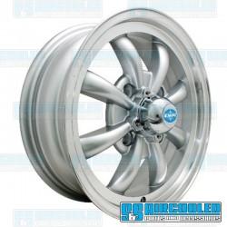 Wheel, GT-8, 8 Spoke, 15x5.5, 4x130 Pattern, Silver w/Polished Lip