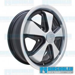 Wheel, Porsche 911 Alloy, 15x4.5, 5x130 Pattern, Matte Black w/Matte Silver Spokes & Lip