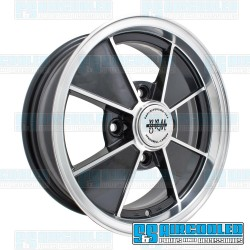 Wheel, BRM, 15x4.5, 4x130 Pattern, Gloss Black w/Polished Lip