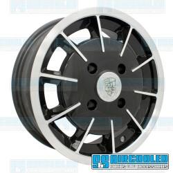 Wheel, Gasser, 15x5.5, 4x130 Pattern, Gloss Black w/Polished Spokes and Lip