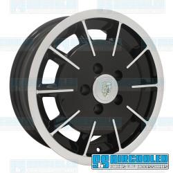 Wheel, Gasser, 15x5.5, 5x130 Pattern, Gloss Black w/Polished Spokes & Lip