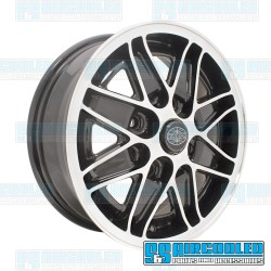 Wheel, Cosmo, 15x5.5, 4x130 Pattern, Gloss Black w/Polished Spokes & Lip