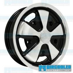 Wheel, Porsche 911 Alloy, 15x4.5, 5x205 Pattern, Polished w/Black Inset