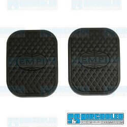 Clutch/Brake Pedal Pads, Black w/EMPI Logo