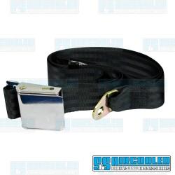 Seat Belt, 2 Point Lap Belt w/Chrome Lift Latch, Black