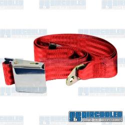 Seat Belt, 2 Point Lap Belt w/Chrome Lift Latch, Red