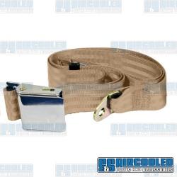 Seat Belt, 2 Point Lap Belt w/Chrome Lift Latch, Tan