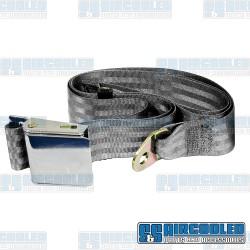 Seat Belt, 2 Point Lap Belt w/Chrome Lift Latch, Grey
