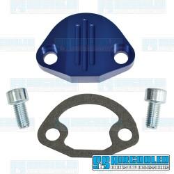 Fuel Pump Block Off, Aluminum, Blue