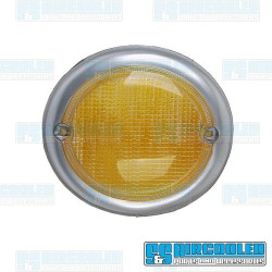 Turn Signal Lens, Front, Left, Amber w/Silver Trim