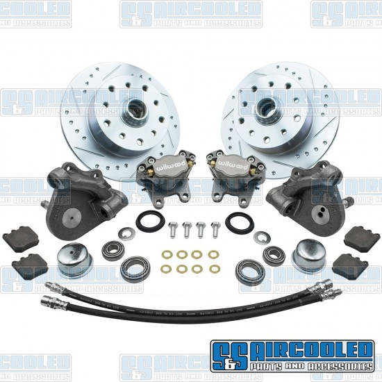 EMPI Disc Brake Kit, Front, 5x130/5x4.75, Wilwood Calipers, Drop Spindle