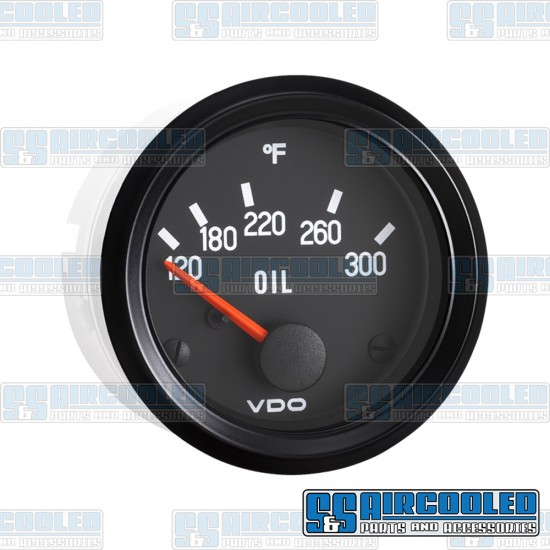 VDO Oil Temperature Gauge, 120-300°F, 2-1/16 in, Electrical, Cockpit Series