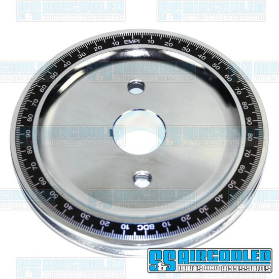 EMPI Crankshaft Pulley, 6-3/4in., Billet Steel, Solid, Silver Zinc w/Black Number Ring