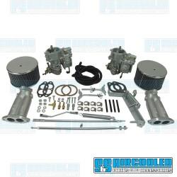 Carburetor Kit, 40mm Brosol/Solex, Dual, Original Style Linkage w/Air Cleaners