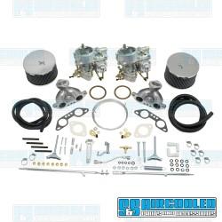 Carburetor Kit, 40mm Brosol/Solex, Dual, Twist Style Linkage w/Air Cleaners