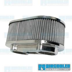 Air Filter Assembly, IDA/EPC, Oval, Gauze Element, Chrome
