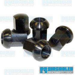 Lug Nuts, M14-1.5, Ball Seat, Porsche Style, Aluminum, Black