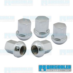 Lug Nuts, M14-1.5, Ball Seat, Porsche Style, Steel, Chrome