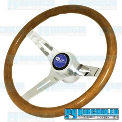 Steering Wheel, 380mm Diameter, 23mm Grip, Light Classic Wood w/Adapter