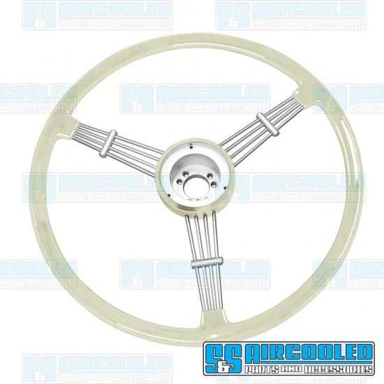 EMPI Steering Wheel, 15-1/2in Diameter, Banjo Style, Silver/Grey