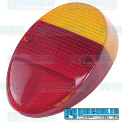 Tail Light Lens, Amber/Red, Euro Style, Left or Right