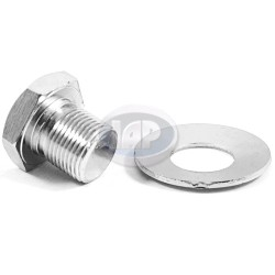 Bolt & Washer, Crankshaft Pulley, Stock Length, Chrome