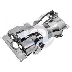 Cylinder Head Tin, Single Port, Left and Right, Chrome