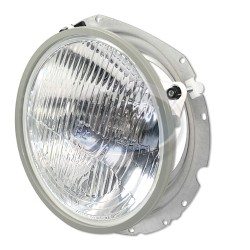 Headlight, H4, 12 Volt 55/60W, Semi Flat Lens, 7in. Diameter, w/Mounting Assembly