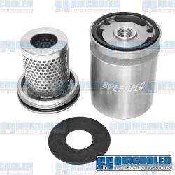 Oil Filter, SPEEDFLO Re-Usable, Billet Aluminum, Silver