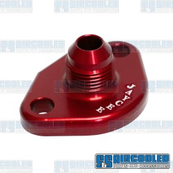 Fuel Pump Block Off/Breather, -10 AN Male Fitting, Aluminum, Red