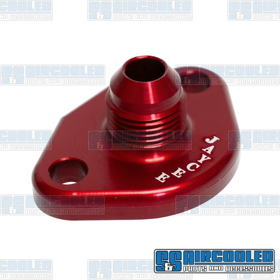 Fuel Pump Block Off/Breather, -8 AN Male Fitting, Aluminum, Red