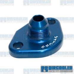 Fuel Pump Block Off/Breather, -10 AN Male Fitting, Aluminum, Blue