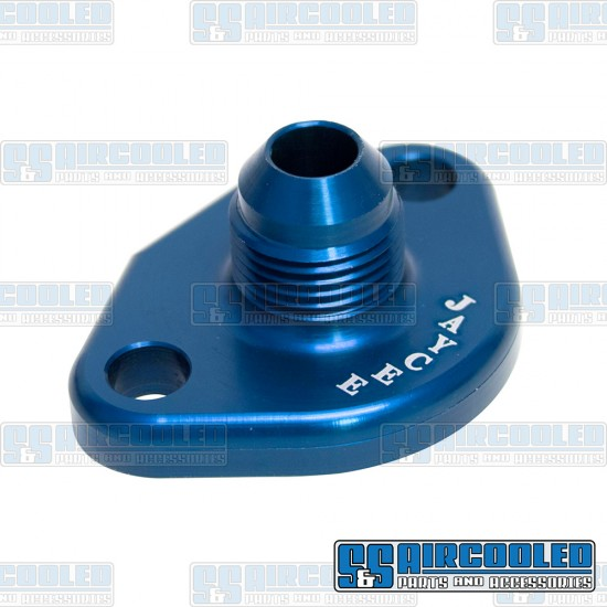 Fuel Pump Block Off/Breather, -8 AN Male Fitting, Aluminum, Blue