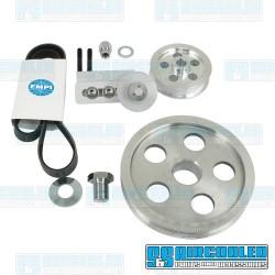Serpentine Pulley Kit, 5-Hole, Polished Aluminum, EMPI