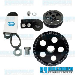 Serpentine Pulley Kit, 5-Hole, Black Anodized Aluminum, EMPI