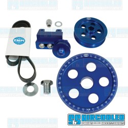 Serpentine Pulley Kit, 5-Hole, Blue Anodized Aluminum, EMPI