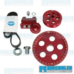 Serpentine Pulley Kit, 5-Hole, Red Anodized Aluminum, EMPI