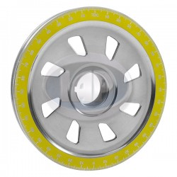 Crankshaft Pulley, 6-3/4in, Aluminum, Slotted, Polished w/Yellow Numbers