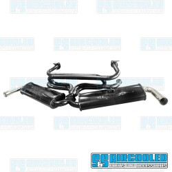 Dual Quiet Pack Exhaust System, 1-3/8in. Header, Black w/Chrome Tips