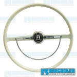 Steering Wheel, 15-3/4in Diameter, Stock Style, Silver/Grey, EMPI