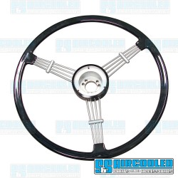 Steering Wheel, 15-1/2in Diameter, Banjo Style, Black, EMPI