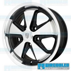 Wheel, Porsche 911 Alloy, 17x7, 5x130 Pattern, Gloss Black w/Polished Spokes & Lip, EMPI