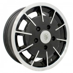 Wheel, Gasser, 15x5.5, 5x130 Pattern, Gloss Black w/Polished Spokes and Lip